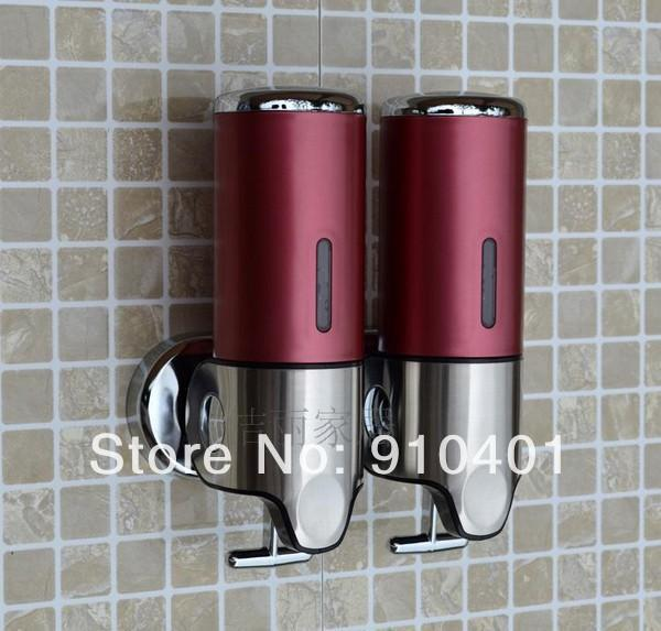 Wholesale And Retail Promotion Luxury Wall Mounted Bathroom Hotel Soap Shampoo Dispenser Dual Red Color 1000ML brass waterfall(China (Mainland))