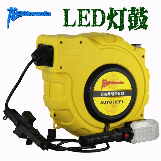 led lights automatic retractable hose reel work light drum. Black Bedroom Furniture Sets. Home Design Ideas