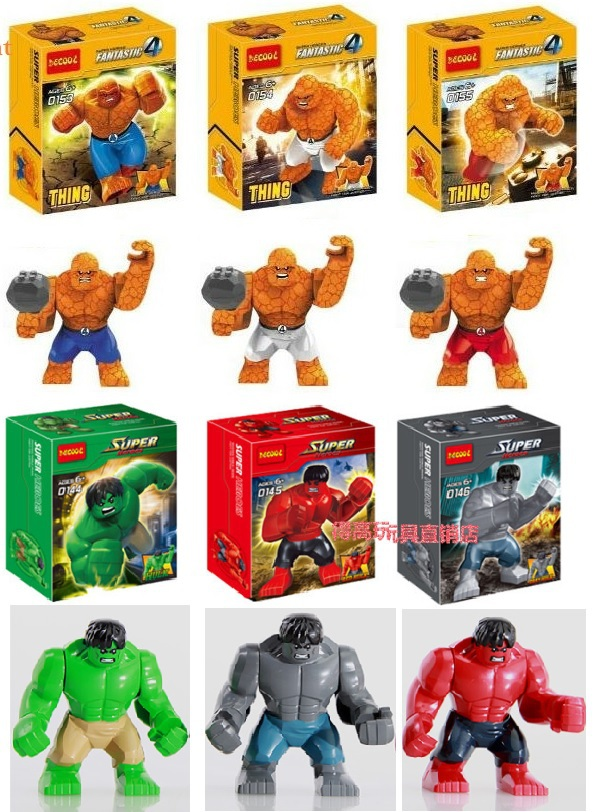 DHL Fedex Wholesale Decool 360pcs Super Heroes Avengers Big Huge Hulk Strong Thing Fantastic Four action figures Blocks Kids toy<br><br>Aliexpress