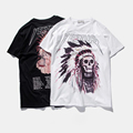 Best Version 2016 Yeezus Tour Kanye West yeezy Merch Indian Headdress Skull red letter short sleeve