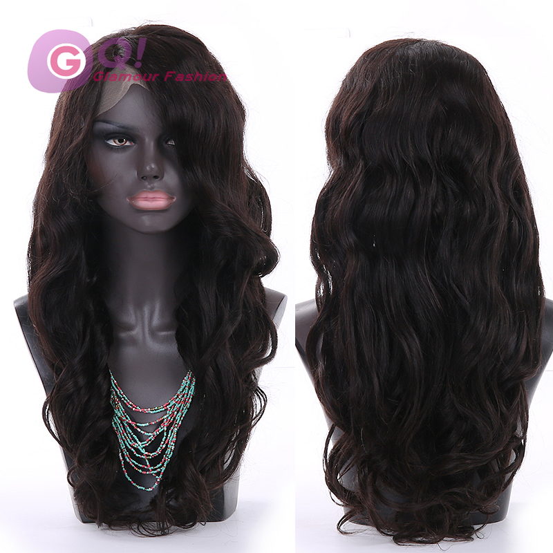 Фотография GQ Heavy virgin malaysian lace front wigs 130 density full lace human hair wigs wavy human hair lace front wig for black women