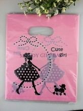 500pcs/lot Pink And Black Gilr Plastic Gift Decorated Packing Shopping Bag Boutique Carrier Bags 15X20CM(China (Mainland))