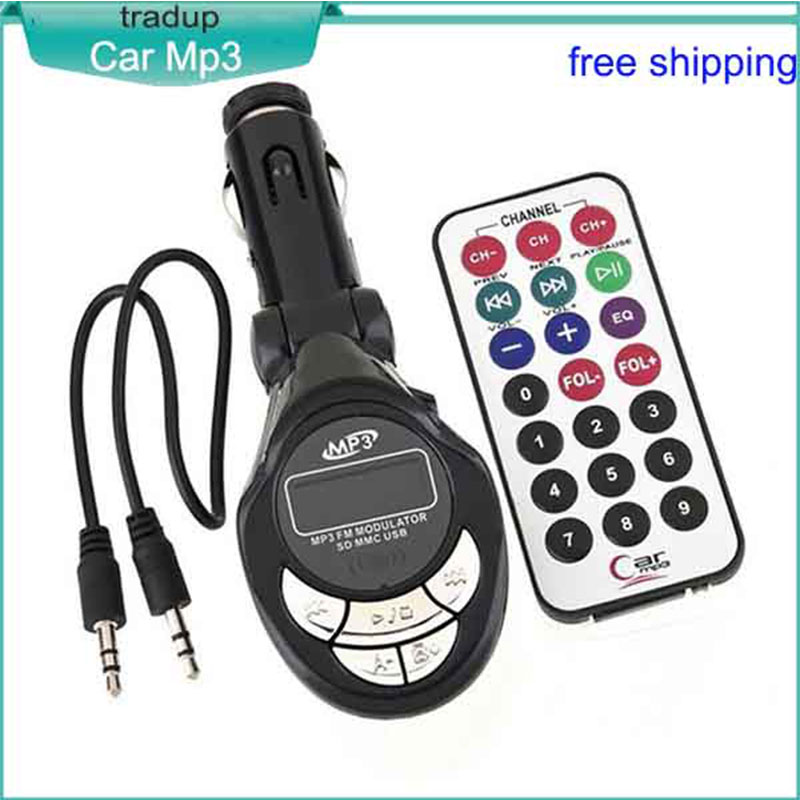Hot sales car Mp 3 Music Player LCD Car Kit Wireless FM Transmitter Modulator Remote Cheap Pricing Real Factory Supply(China (Mainland))