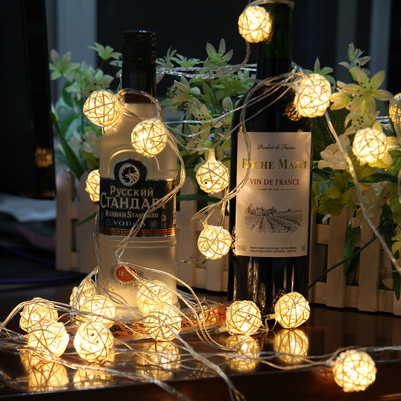 Novelty 3M 20LEDS Rattan Ball Color Led Holiday Lighting Christmas string lamp Party Home wedding Strip decoration Garden Lights(China (Mainland))