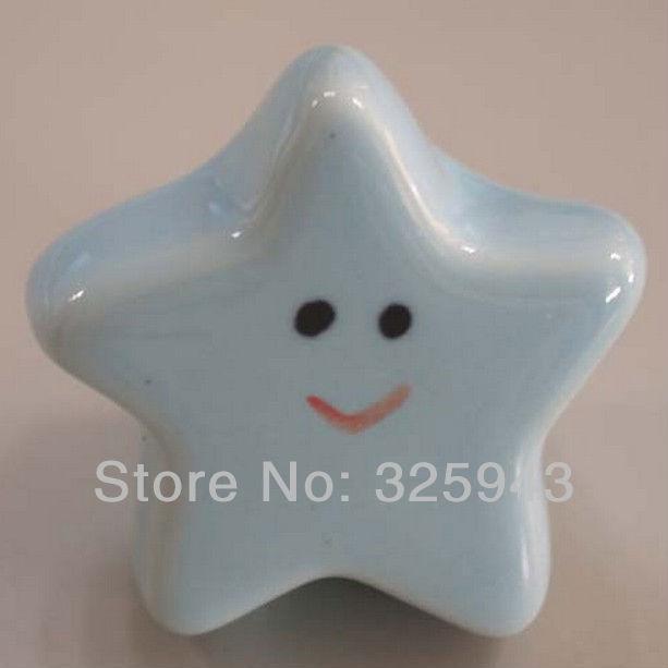 Cute Light Blue Starfish Kids Furniture Bedroom Ceramic Cabinet Knobs And Handles Dresser Drawer Pulls