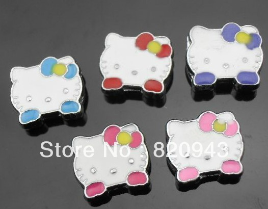 50pcs 8mm mix color small kitty face slideCharm 8mm DIY Accessories fit wristband and pet collar