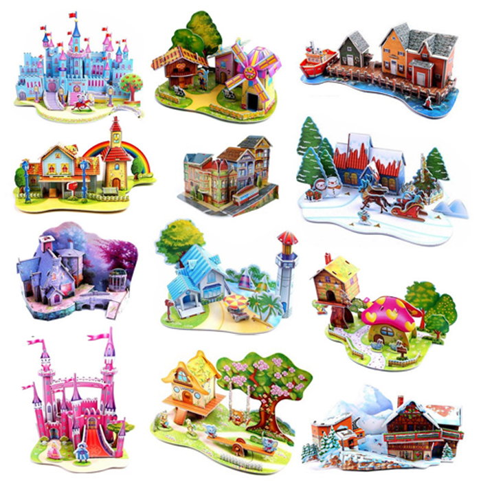 Large 3D Puzzle Children's Educational Toys DIY Manual Paper Model Cartoon Fairy Tales Series Girl/Son Gift(China (Mainland))