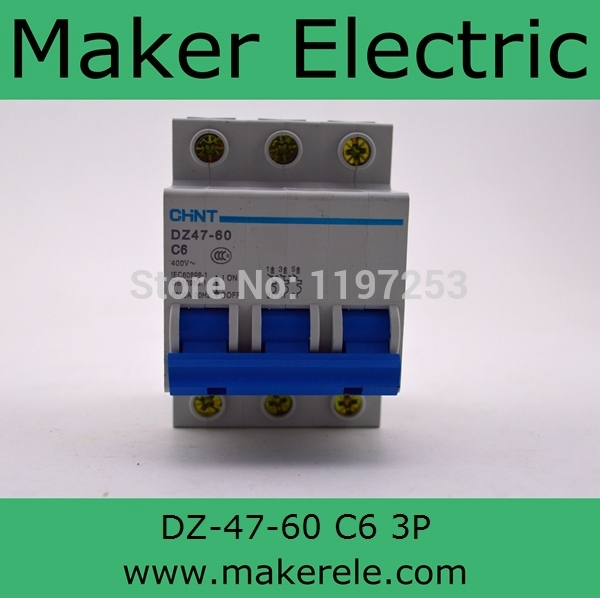 f&g circuit breaker DZ-47-60 3P C6 6A Rated Current 3 Pole Miniature Circuit Breaker(China (Mainland))
