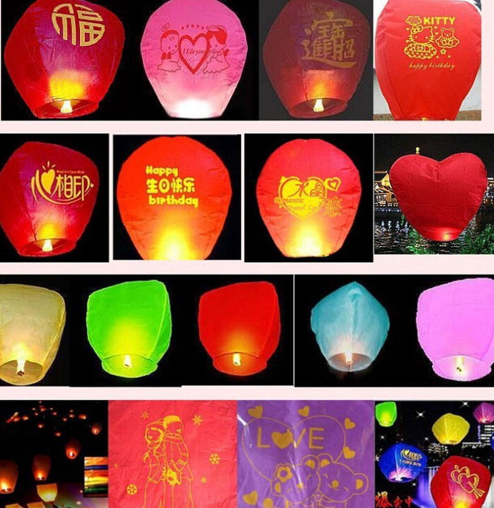 5Pcs/Lot 5 Colors Wishing Lamp SKY Chinese Lanterns Birthday Wedding Party Sky Lantern Randomly Color(China (Mainland))
