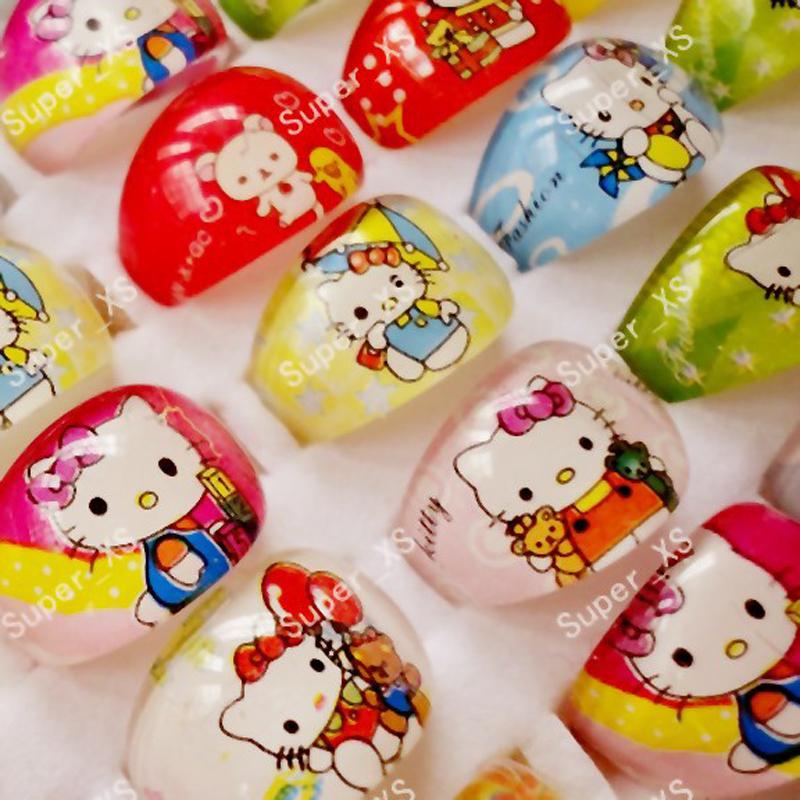 10Pcs Cute Cartoon Lovely Animation Hello Kitty Resin Plastic Rings for Children Kid Girls Whole Bulk Jewelry Mixed Lots BK401(China (Mainland))