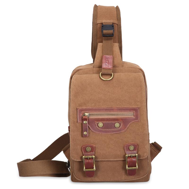 Фотография Vintage Canvas Chest Pack Bag Outdoor Hiking Travel Sport Shoulder Bag Fashion Crossbody Bag Casual Men