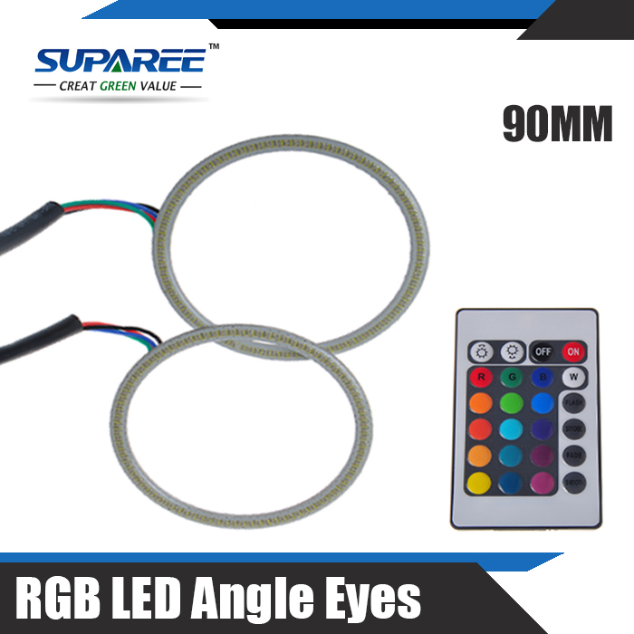 New Arrival 2X 90MM LED COB Auto Angle Eyes Rings Halo Flashing Remote kit Multi-color RGB With Remote Control DC12V(China (Mainland))