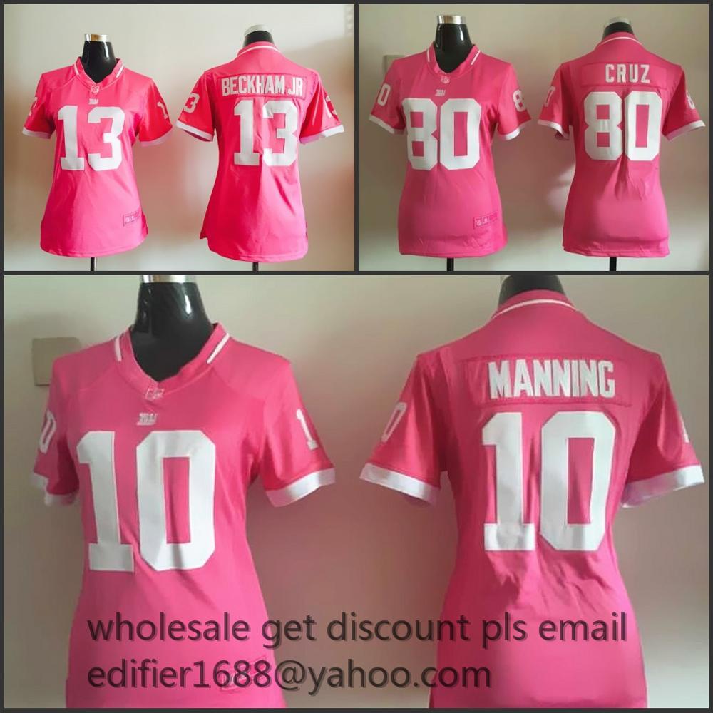 100% stitched WOMEN PINK Love New York Giants ladies 10 Eli Manning 13 Odell Beckham Jr. 80 Victor Cruz Embroidery Logos(China (Mainland))