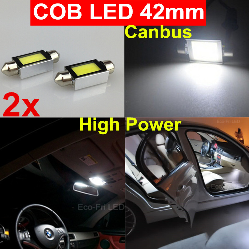 2x 6W High Power Canbus Festoon 42mm COB Led SMD Dome Map Interior license plate Light 211 212-2 6413 Bulbs 6000K White - WLJH VIP Store store