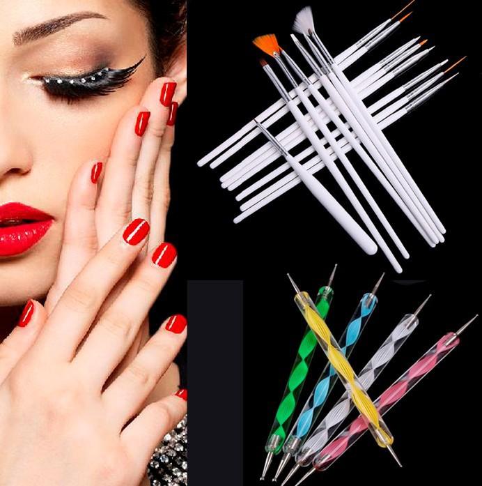 15 Pcs Nail Art Painting Drawing Pens + 5 Pcs Dotting Marbleizing Painting Pen Tool Nail Art Dot Dotting Tool Nail Care(China (Mainland))