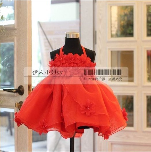 Fashion Red female child dress  child wedding dress  baby one-piece  top grade formal flower dress