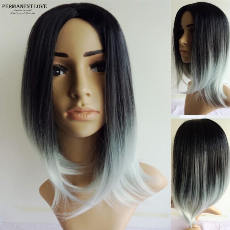 Серебристо серый цвет волос на средние волосы с челкой женские