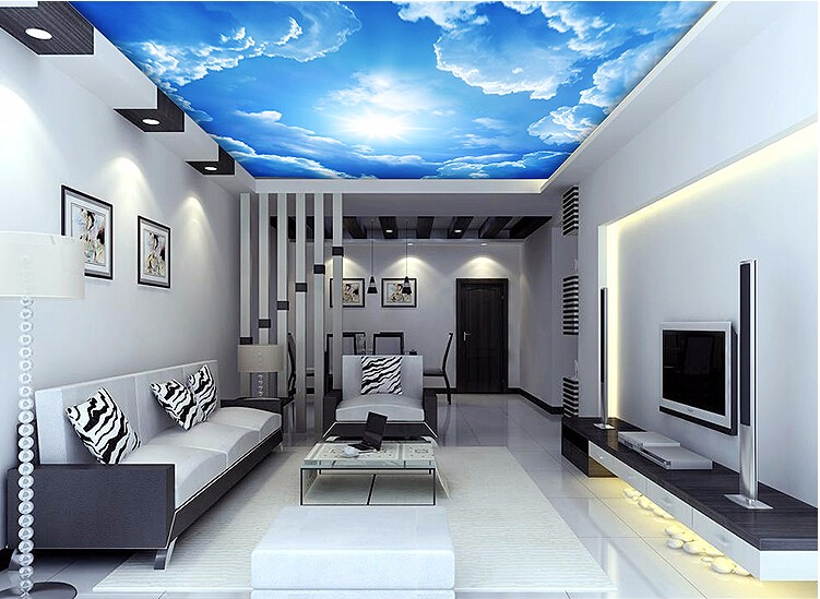 Clouds sky blue custom mural wallpaper free shipping for 3d ceiling paper