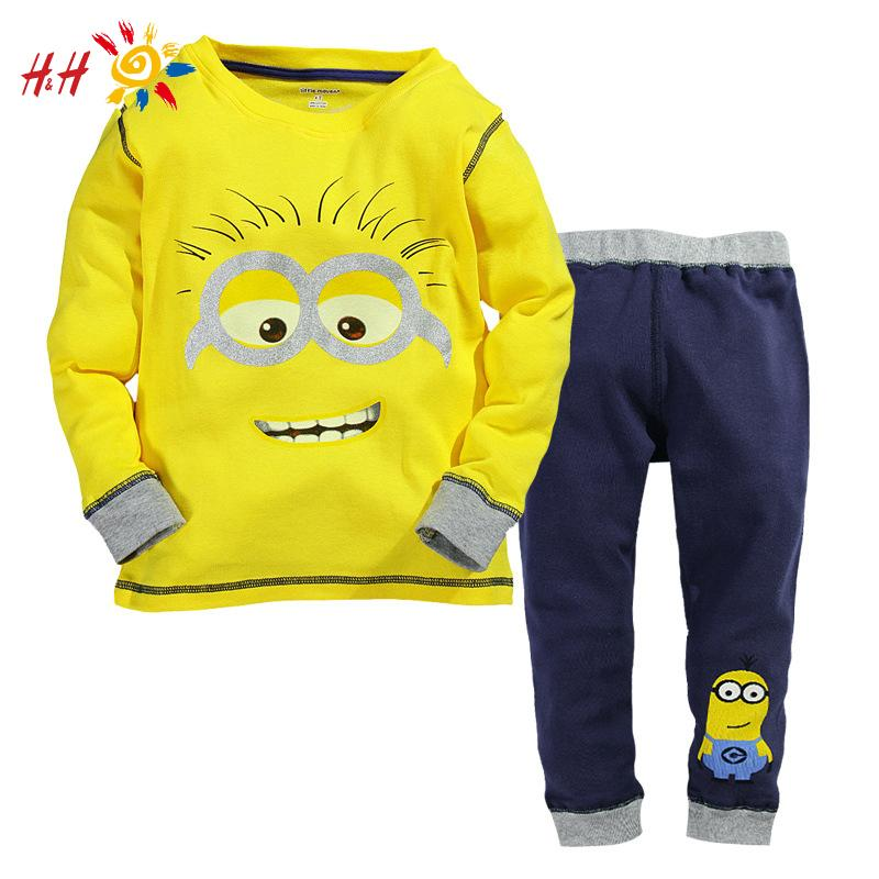 2015 New Baby Boys Despicable Me Cotton Minion Clothing Sets 2pcs Kids Long sleeve T shirt and Pants Children Clothes GC2104(China (Mainland))