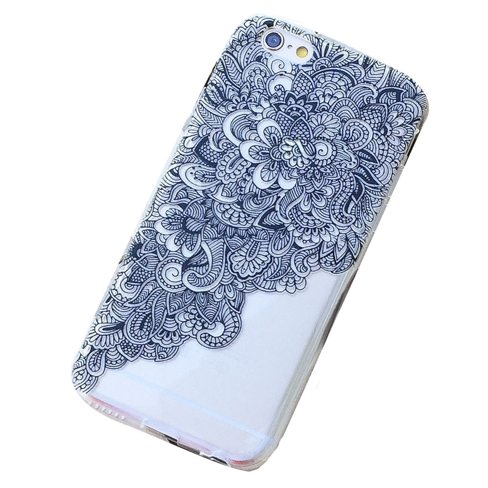 Rainbow Clear Floral Flower Plastic Case Cover Skin for iPhone 6 4.7inch Cell phone Back Skin protector Wholesale(China (Mainland))