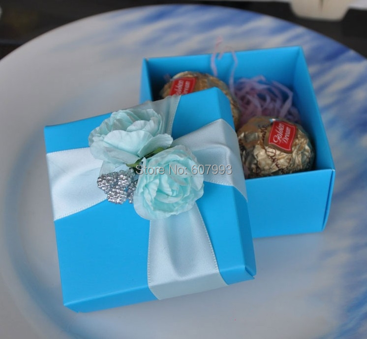 Ocean blue square Candy box ,gift package,Christmas wedding favor bomboniere chocolate Box packaging ,100pcs/lot free shipping(China (Mainland))