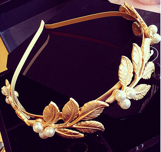 Hot sell European luxury D G baroque pearl hair bands metal gold flowers retro hair band cross coins headbands for women(China (Mainland))