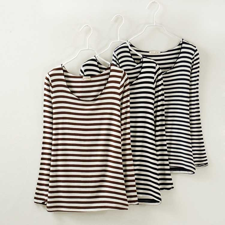 Low Price Wholesale Women Striped T Shirt Long Sleeve O