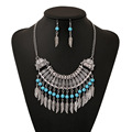 New Fashion Vintage style Jewelry sets Multilayer Tassels Leaf Choker chain Necklace Earrings for women Drop