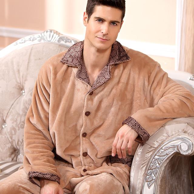 2016 современная мода мужчины зима согреться анти-холодное ватки пижамы комплект ...