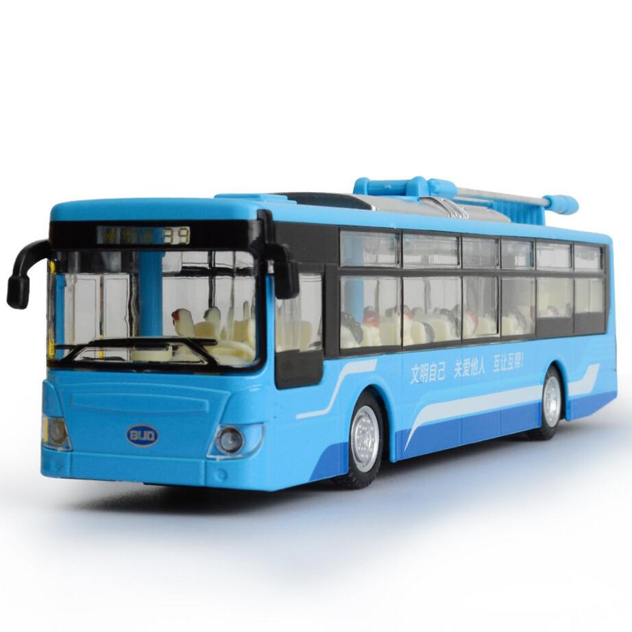 Hot simulation 1:32 Scale New energy city bus BYD K9 model diecast cars alloy pull back toys with light and musical for kids(China (Mainland))