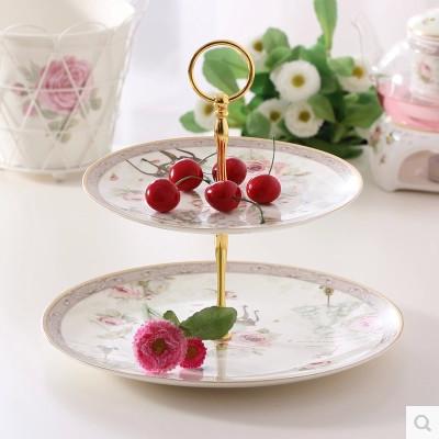 Free shipping Creative ceramic fruit bowl home decoration furnishing articles double ceramic fruit bowl