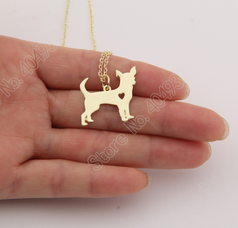 20pcs Gold Chihuahua Necklace Pendant Puppy Heart Dog Lover Memorial Pet Necklaces &amp; Pendants Women Animal Charms Christmas Gift<br><br>Aliexpress