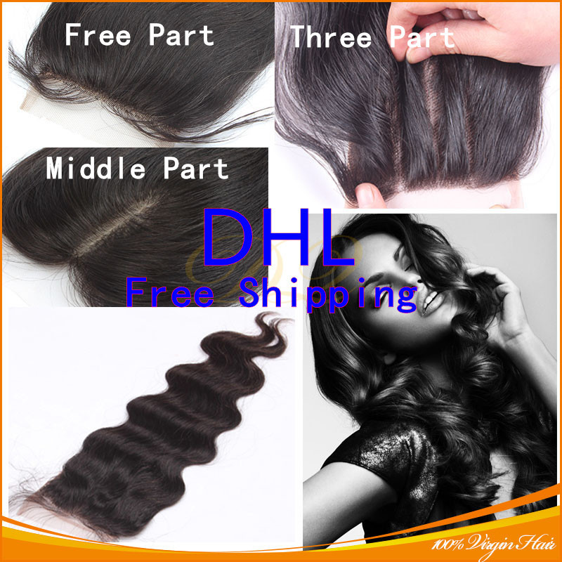 DHL Free Shipping Brazilian Body Wave Lace Closure Free Middle 3 Part Virgin Hair Closure With Part Swiss Lace Bleached Knots(China (Mainland))