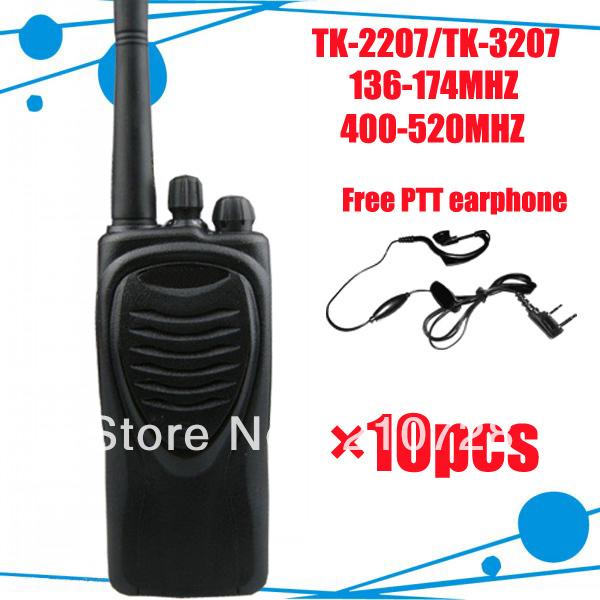 DHL FREEshipping + FREE PTT Earphone of radio tk 2207 10pcs/lot police 2-way radio 5 watts TK-2207 Best 2 way radio