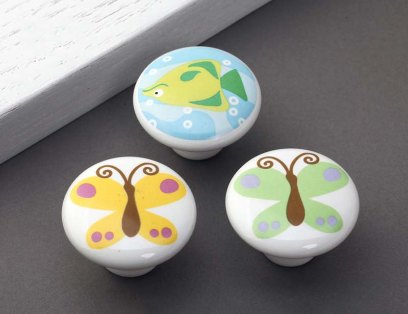 Children room cartoon handle cute butterfly knob hand-draw great circle drawer chest door handlle ceramic handle latest CP477(China (Mainland))