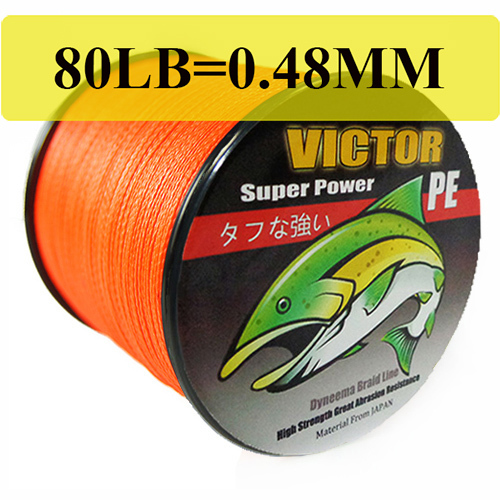 Free shipping victor new spiderwire braided 100m 80lb for Orange fishing line