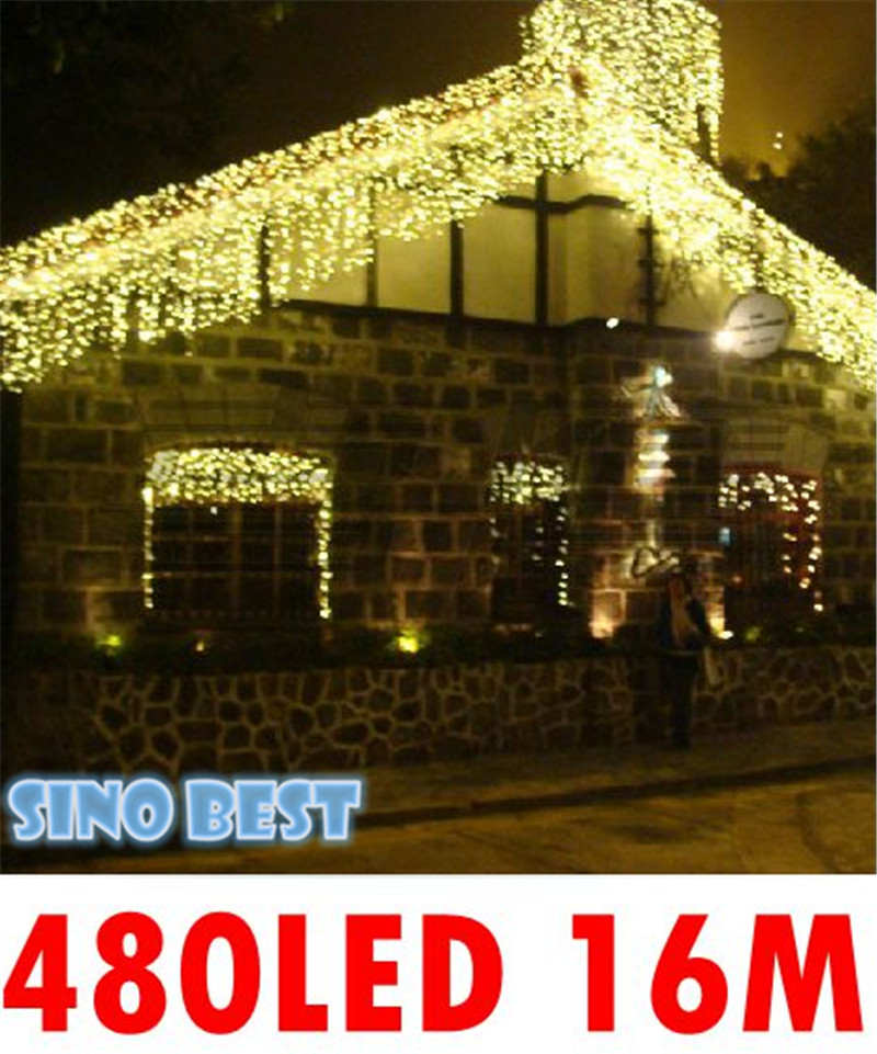 outdoor rgb white 16m 480 led icicle lights 220v 110v christmas