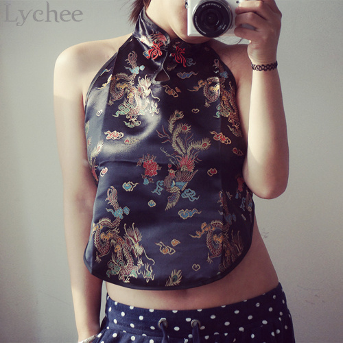 Vintage Summer Women Short Tank Top Sexy Backless Dragon Embroidery Chinese Bellyband Style Halter Cropped Top(China (Mainland))