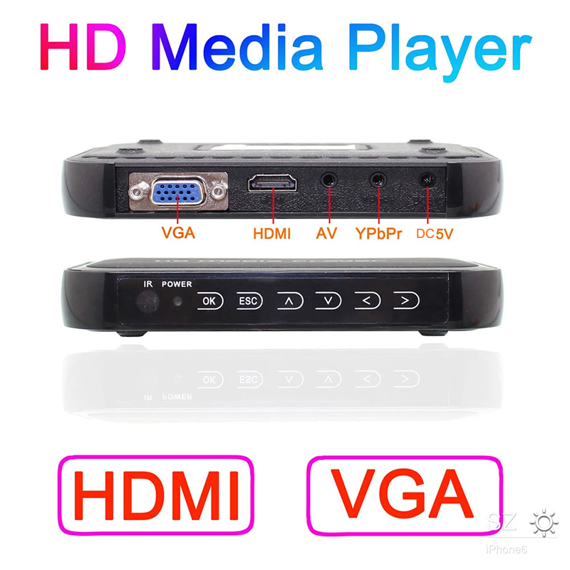 2016 New Full HD 1080P Media Player Mini Autoplay 1080p SD/U Disk HDMI VGA Media Player with retail package free shipping(China (Mainland))