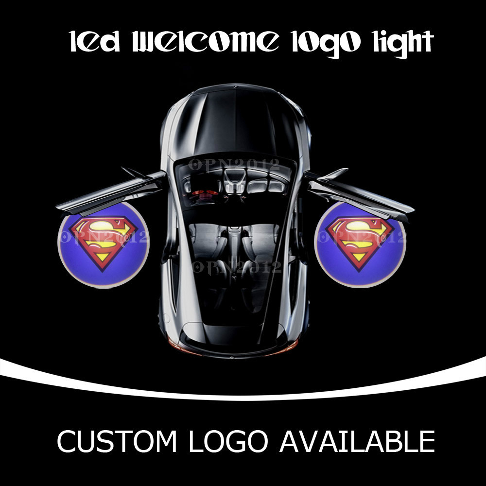 LED Car Door Welcome Projector Light Ghost Shadow emblem Logo Lamp For SUPERMAN Brand logo custom logo for vw chevy bmw 1189(China (Mainland))
