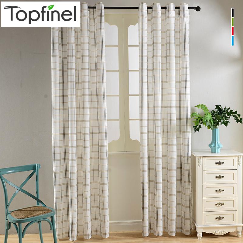 Top Finel New Cotton Linen Blending Plaid Tartan Sheer Voile Curtains For Living Room Tulle