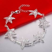 925 Starfish Bracelet Silver Plated Chain Bracelets For Women Girl 20mm Star(China (Mainland))