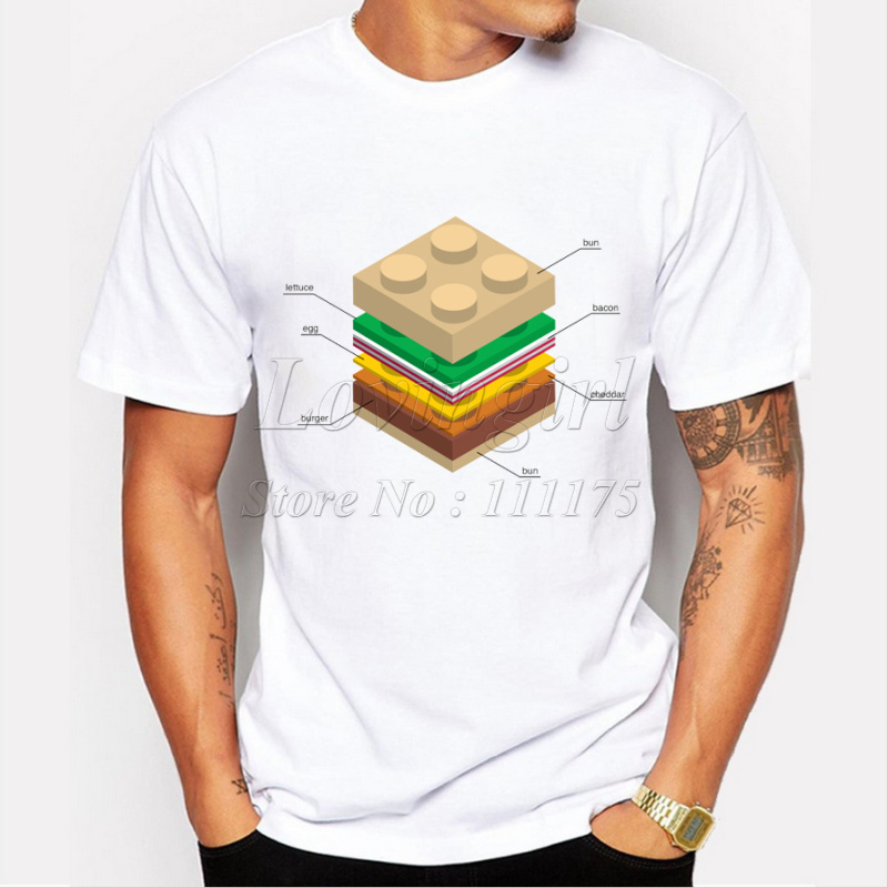 Newest Hipster men's fashion lego burger printed t-shirt funny short sleeve tee shirts Novelty O-neck popular sport tops(China (Mainland))