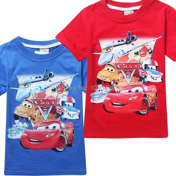 2018 Wholesale Children Boys Cars Design T Shirt Kids Clothes Baby