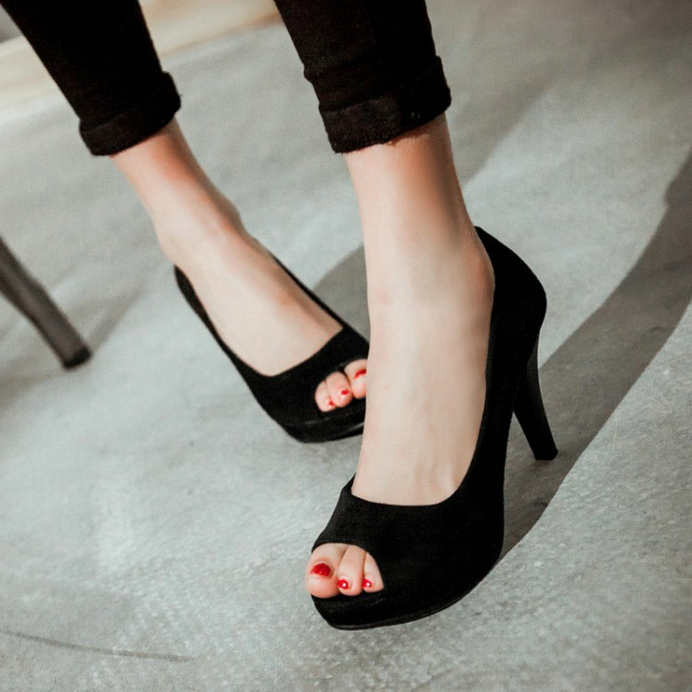 2016 summer women a peep toe front sandals platform solid colors thin heels shoes fashion classic sexy Women's Pumps big size