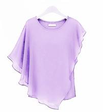 18 Color Plus size  4XL 5XL 6XL Ladies Chiffon Blouses chiffon shirts blusas,Batwing sleeve ruffles women asymmetric shirts(China (Mainland))