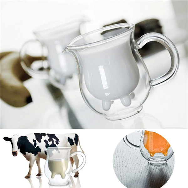 New Arrival Novelty High Borosilicate Glass Cow Udder Shaped Double-walled Milk Cream fruit juice Coffee Mug Cup Clear Home(China (Mainland))