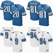 2016 elite Men Detroit Lions, 81# Johnson,20 Barry Sanders, 9 Matthew Stafford, 94# Ezekiel Ansah, blue white 100% stitched logo(China (Mainland))