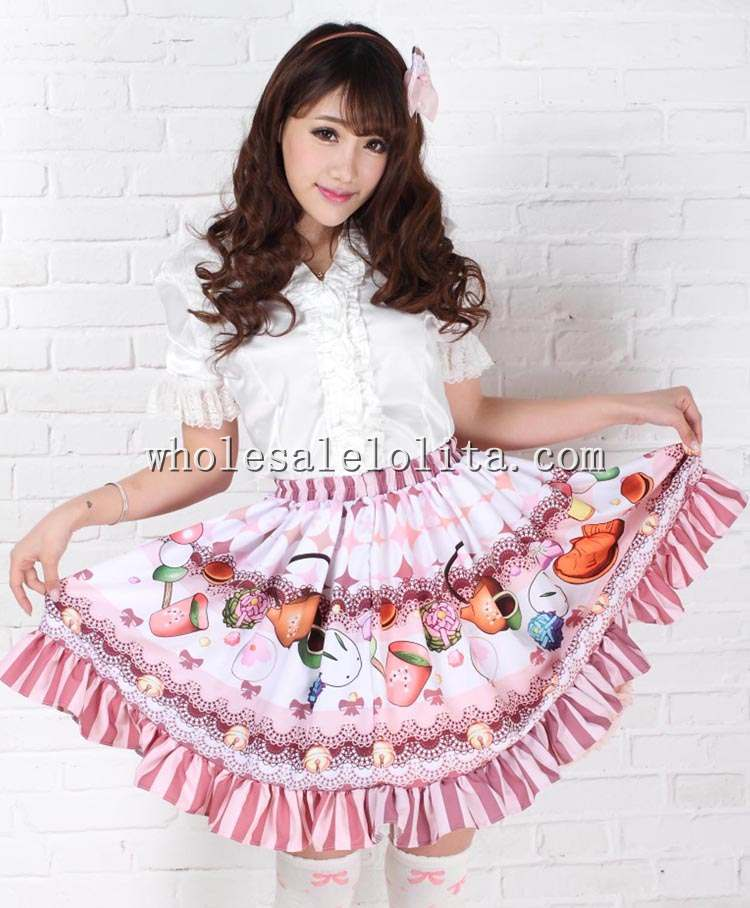Fashion Beautiful Short Skirt Sweet Light Purple Lovely Cake Box Print SK Lolita Skirt