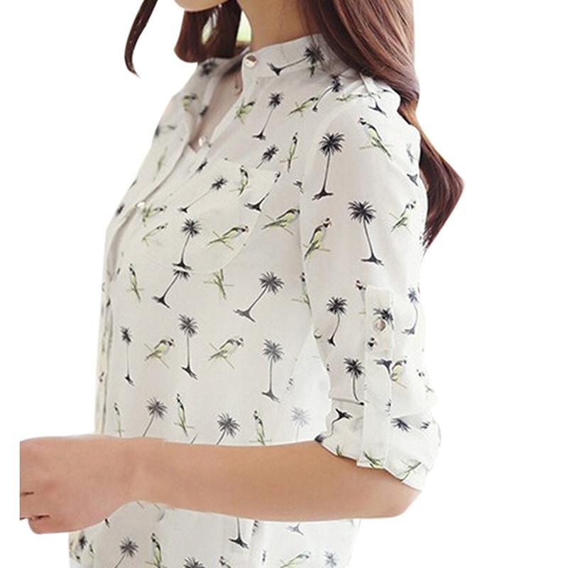Plus Size S-3XL 2015 New Summer Women Long Sleeve Bird Printed Dot Chiffon Shirts Fashion Slim Blouses Shirts Blusas 2 Styles(China (Mainland))